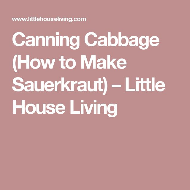 Canning Cabbage (How to Make Sauerkraut) – Little House Living