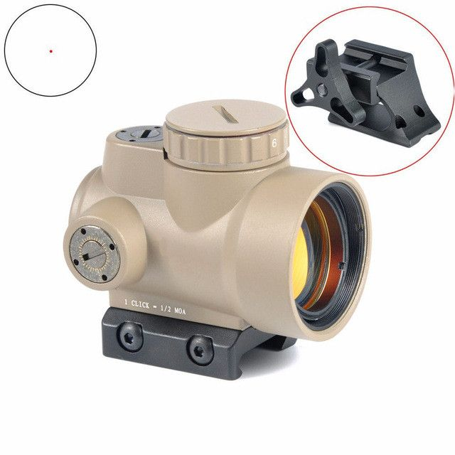 1x25mm Black & Sand Color MRO Style Red Dot Sight Holographic Sight Airsoft Black Low Mount & QD Tactical
