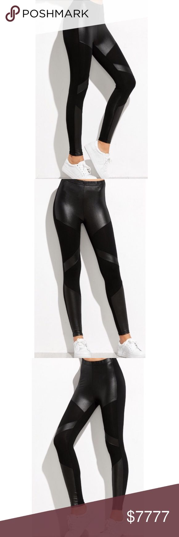 "..........BLACK CONTRAST LEGGINGS Waist 21""-34.5"" Length 33.5"" Hip 25.5""-33.5"" Thigh 15.5""-23.5""  Wow! These contrast leggings will add a slight edge to your wardrobe. Buy a pair for you and your girlfriend. -No trades pls 51Twenty Pants Leggings"