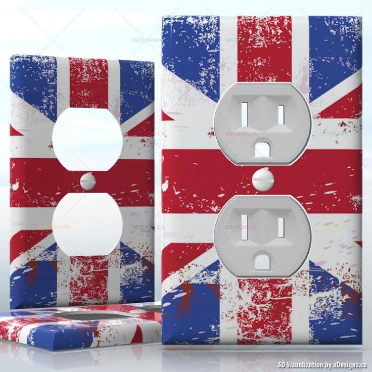 DIY Brushed Union Jack Flag , British England flag , 1 Gang Wall Socket Duplex Receptacle decal skin wrap sticker, Flags / Countries
