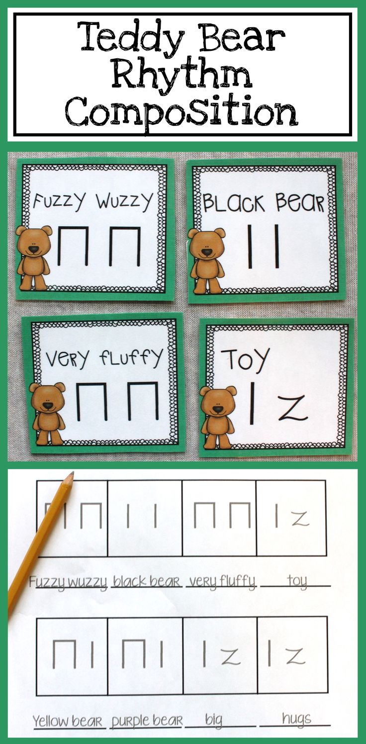 This is a great way to get 1st and 2nd graders composing! Teddy bear rhythm composition with a simple Orff arrangement