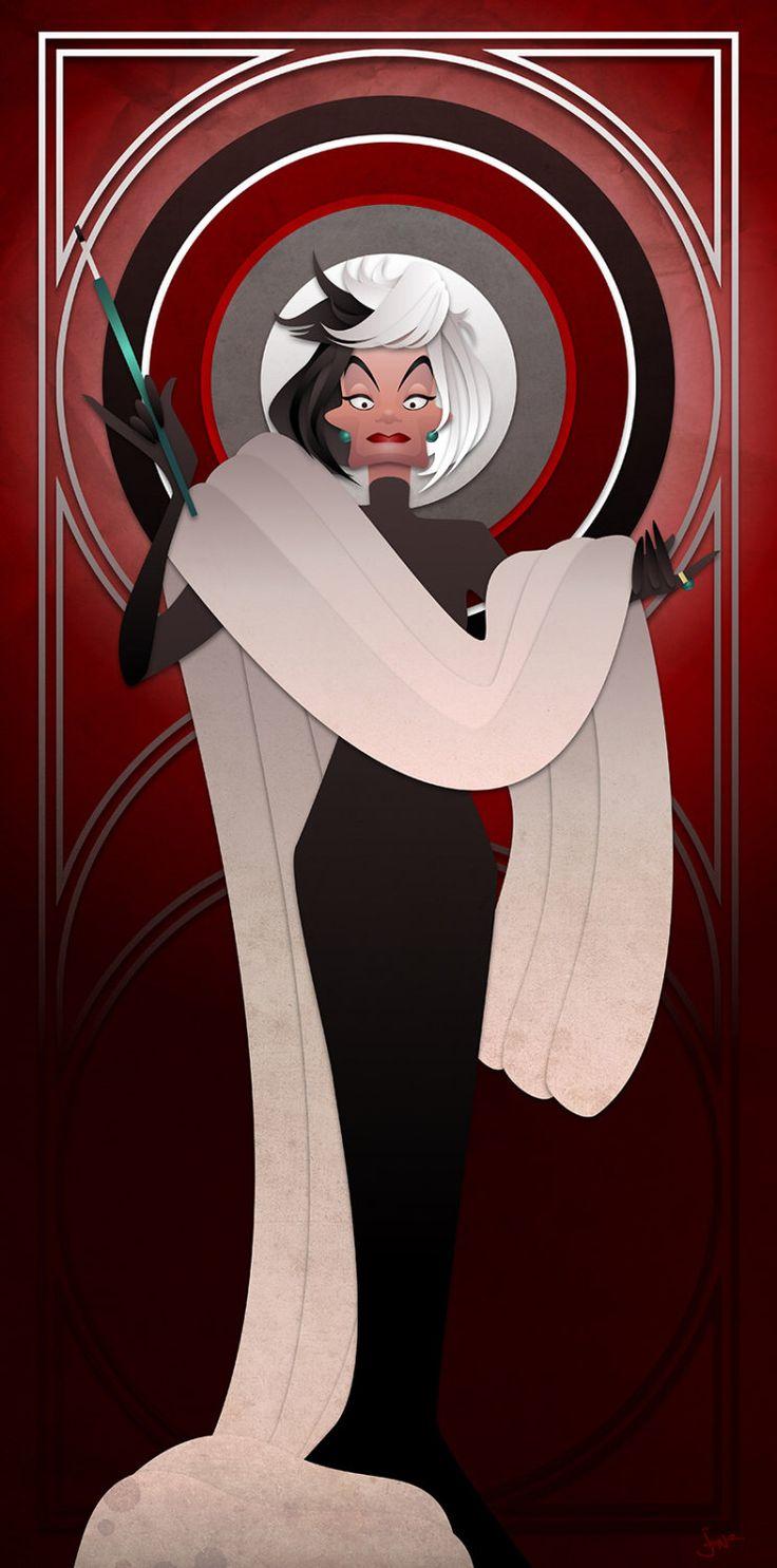 Disney Villains Series - Cruella de Vil(Etsy のJonMendezより) https://www.etsy.com/jp/listing/213489003/disney-villains-series-cruella-de-vil