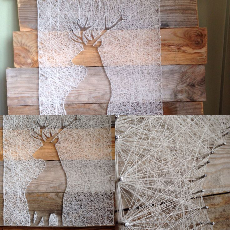"Just finished my new wood , nail , thread art piece. ""The Stag"" hope you all enjoy. Using pallet wood, small nails and cream thread. String art"