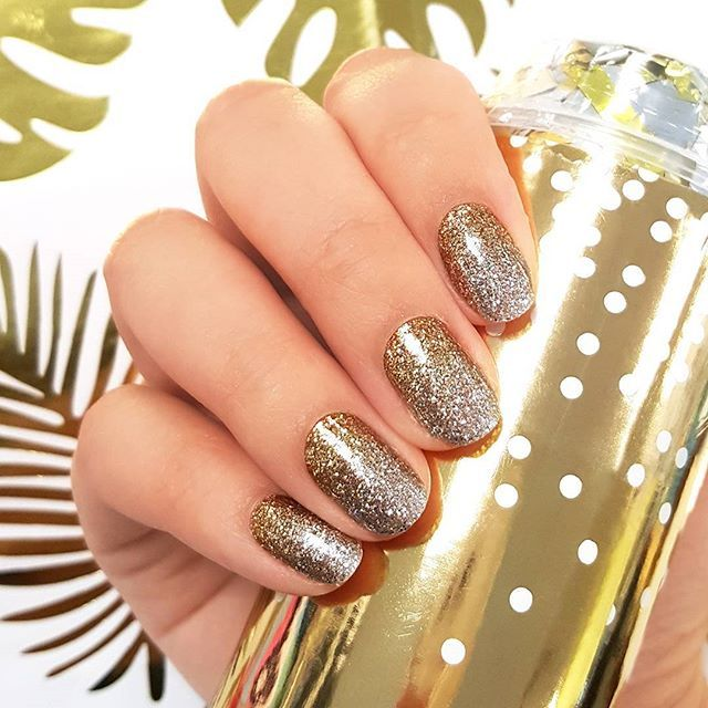 "For occasions that call for a little extra sparkle: ""Vanishing Act"" features classic silver and gold in a showstopping glitter gradient! ✨ #incoco #glitternails #silverandgold #nailsofig #sparkling #sparklynails #metallicnails"