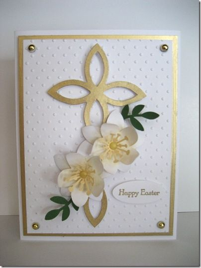 handmade Easter card ... luv the touch of gold paper ... cross with punched flowers ... lovely ... Stampin' Up!