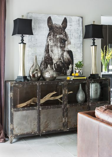 IO Metro Sideboard With Driftwood Horse Painting And Silver Vases