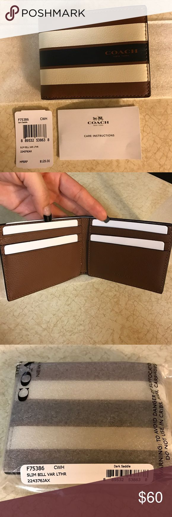 Coach Men wallet Nwt coach slim wallet in varsity leather, box included. Coach Bags Wallets