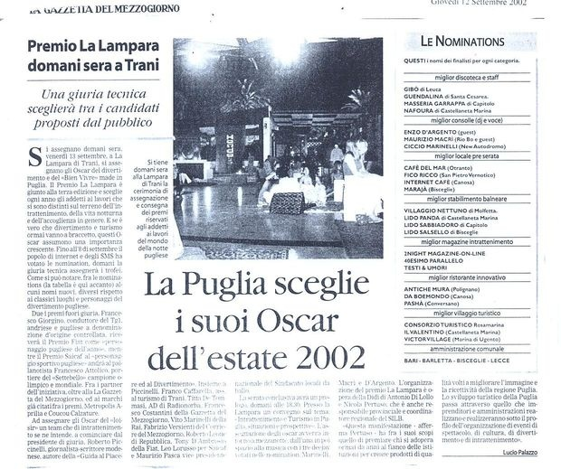 Partner premio La Lampara 2002