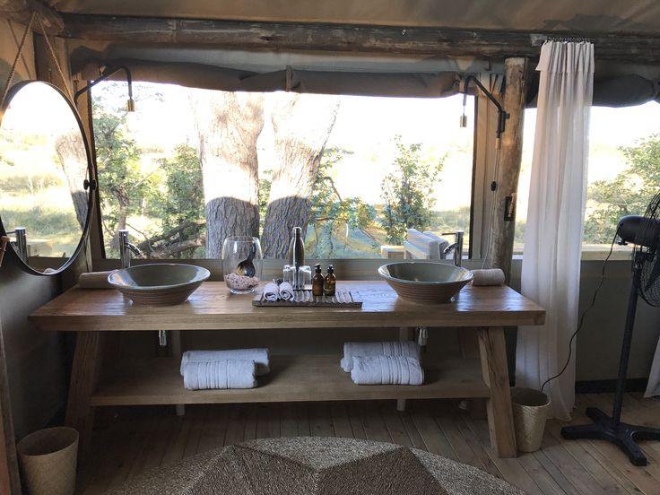 Bathroom with a view of the Botswana bushveld.