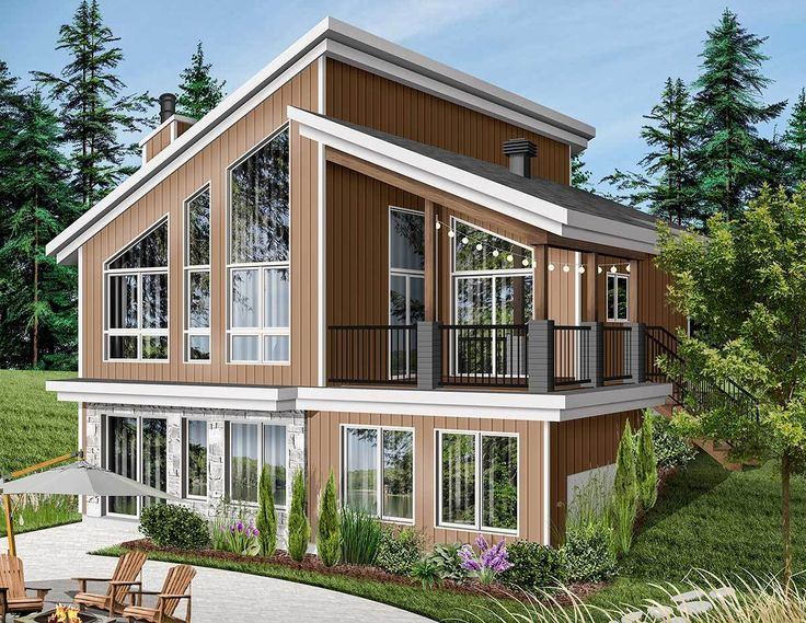 Plan 22522DR: Modern Vacation Home Plan for the Sloping ...