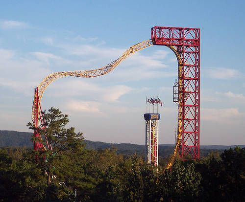 The X-Coaster at Magic Springs Amusement Park in Hot Springs Arkansas ~ this thing is insane! It's one massive spiraling circle!