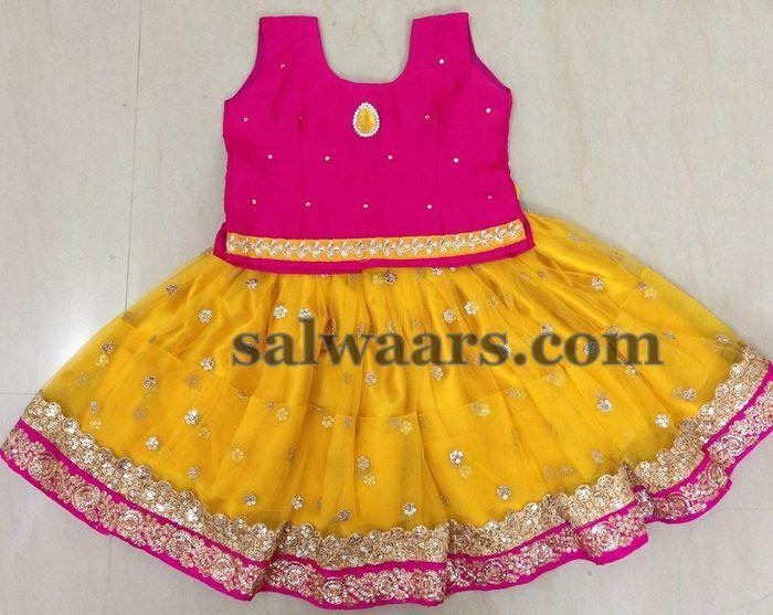 Sequins Work Mustard Short Lehenga - Indian Dresses