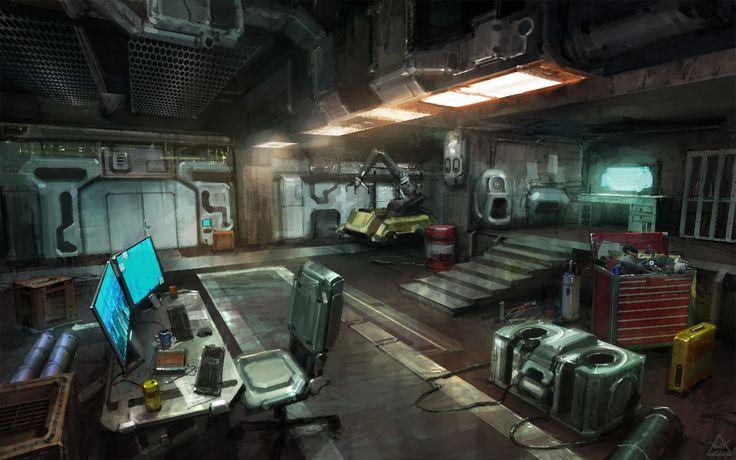 Sci-fi interior, Alexander Chelyshev on ArtStation at http://www.artstation.com/artwork/sci-fi-interior-abd3b7de-1997-4ed8-a1a7-ac262483f3d4