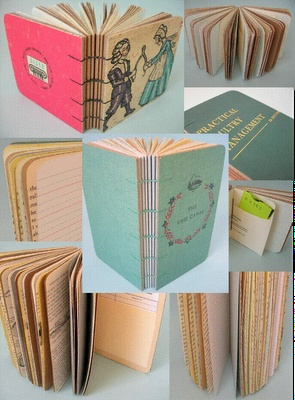 handmade books - the old lined paper and included original pages are always a satisfying trick. Rounded corners. HM?