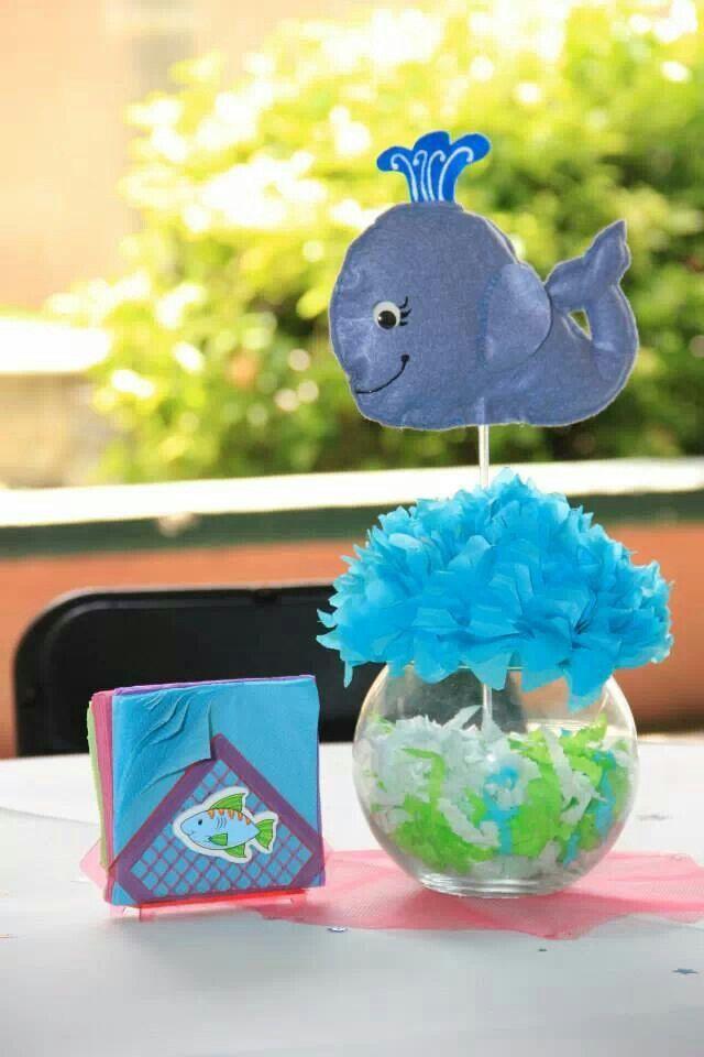 Centro de mesa ballena | Mis creaciones | Baby Shower ...