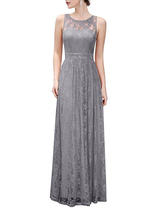 0df35c344a72 Wedtrend Women's Floral Lace Long Bridesmaid Dress Party Gown  WTL10007a-aGrey-L at Amazon Women's Clothing store: