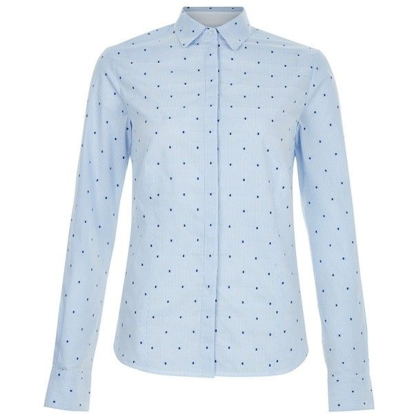 Hobbs Megan Shirt, Pale Blue/Ivory (200 BAM) ❤ liked on Polyvore featuring tops, blue button down shirt, blue collared shirt, button up shirts, long sleeve collared shirts и blue polka dot shirt