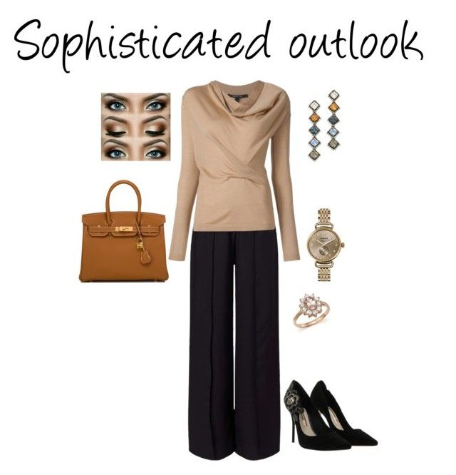 """Sophisticated outlook"" by michelle-bilodeau on Polyvore featuring moda, Miss Selfridge, DANNIJO, Sophia Webster, Shinola, Bloomingdale's y Hermès"