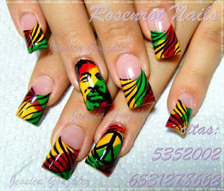 Love the combo of the rasta colors with the animL print and peace sign & bob!! Her nails are WAAAAAY too long tho.