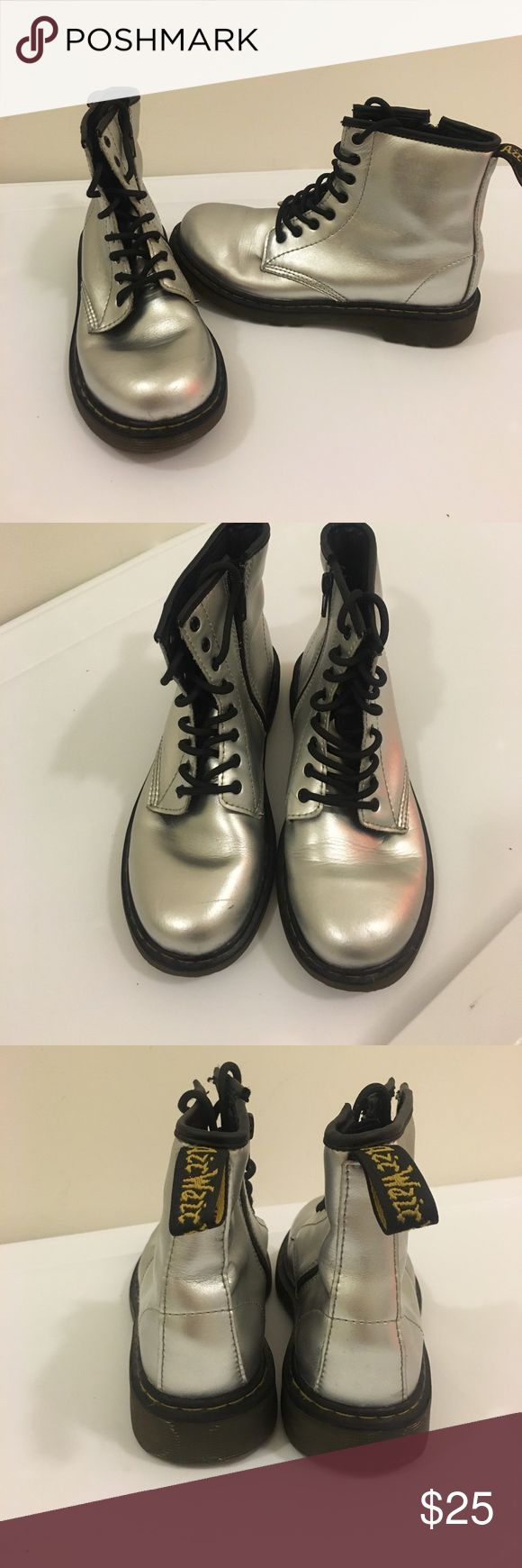 Silver kids dr martens  size 3 Dr martens size 3 silver zip up sides. Couple marks on toes please see pics before purchase. Comes from pet and smoke free home Open tornado able offers!!!!! Shoes Boots