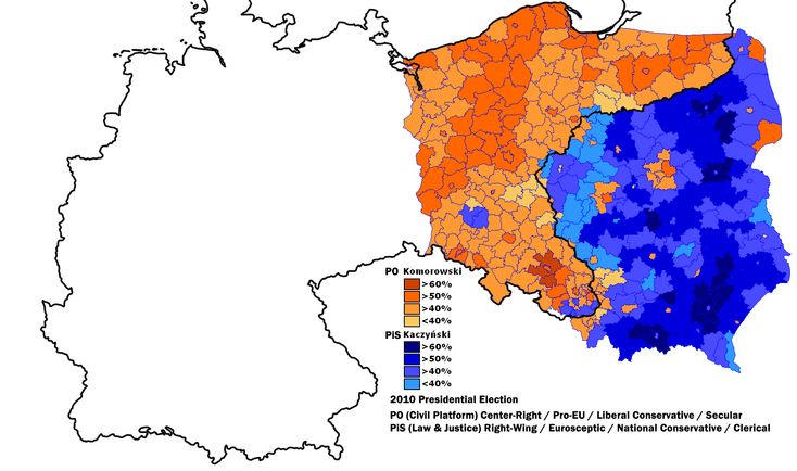 The 2010 Polish presidential election and the borders of the former German Empire (until 1918)