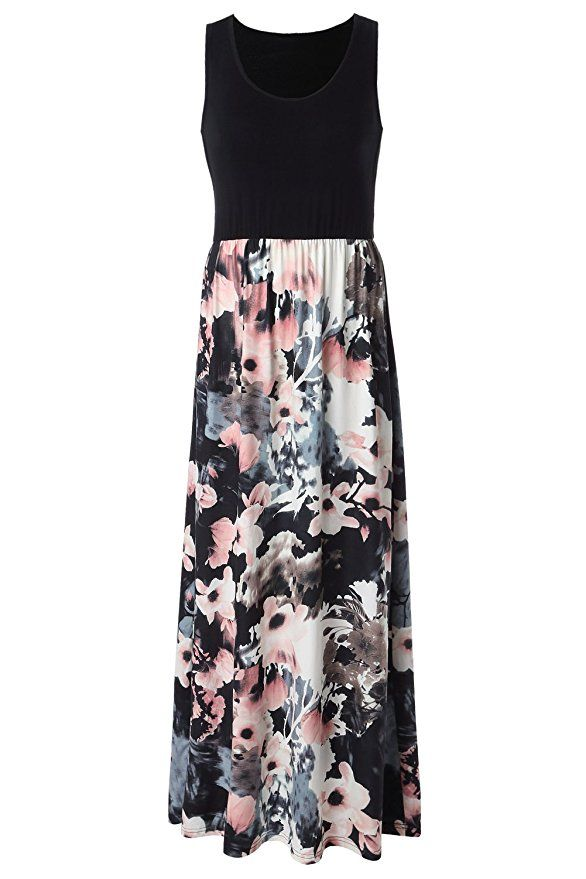a73b31da17811 Zattcas Womens Summer Contrast Sleeveless Tank Top Floral Print Maxi ...