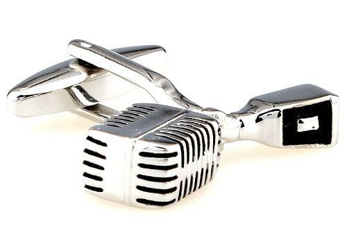 """Old-School Broadcast Microphone Silver with Black Cufflinks Cuff Links Sound Studio Recording Artists Musicians Professional Mick Jagger DGW Cufflinks. $28.88. Free Gift Wrapping with each order!. Approximately 3/4"""" x 1/2"""". Comes packaged in a Limited Edition Collectors Storage Box!"""