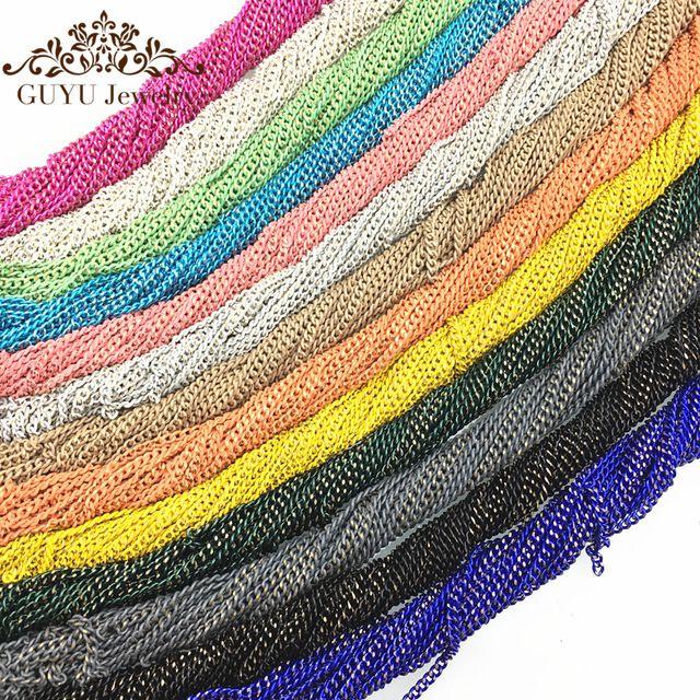 Цепь/цвета Радуги DIY цепи Ожерелье производственные материалы Сексуальная панк ювелирные изделия 1.8 мм аксессуары для украшения Ногтей материал