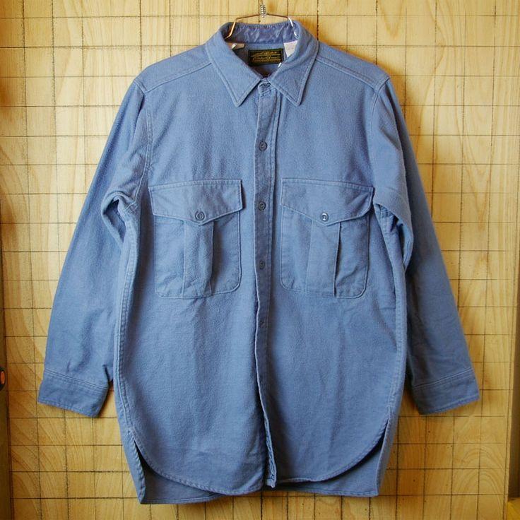 【Eddie Bauerエディー・バウアー】黒タグアメリカ古着ブルー(青)コットン100%シャツ|サイズM