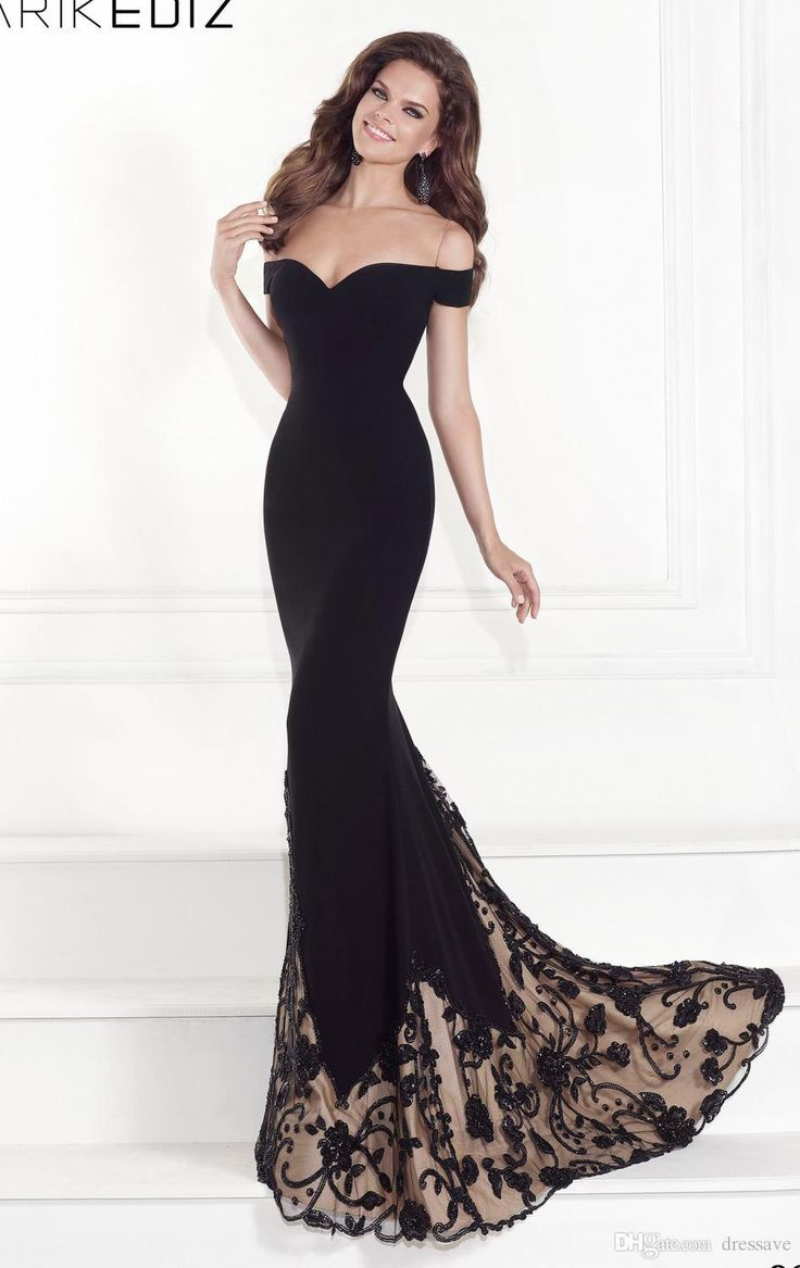 2016 sexy Mermaid Evening Gowns Bateau Off the Shoulder Court Train Black Jersey Backless Sleeveless Party Prom Dresses