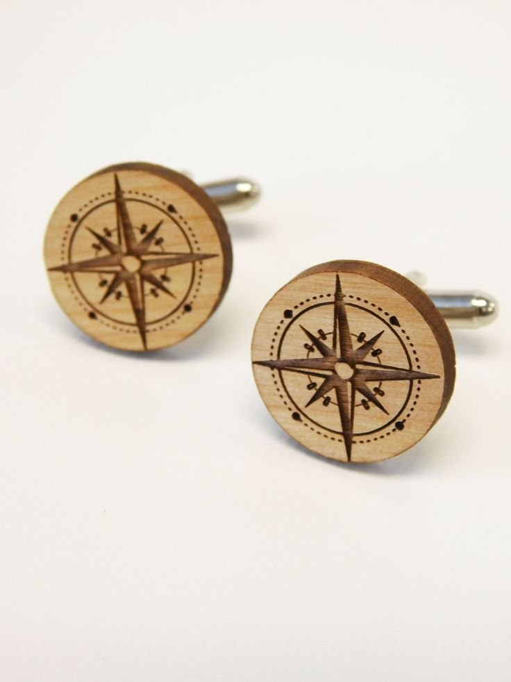 Lazer engraved wooden Cufflinks with compass rose.