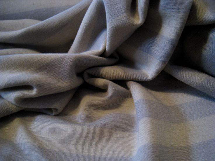 Wool Silk jersey knit- fabric -angora / misty grey stripes - GOTS certified - by the metre, merino wool, mulberry silk- xxl wide by DanischPur on Etsy