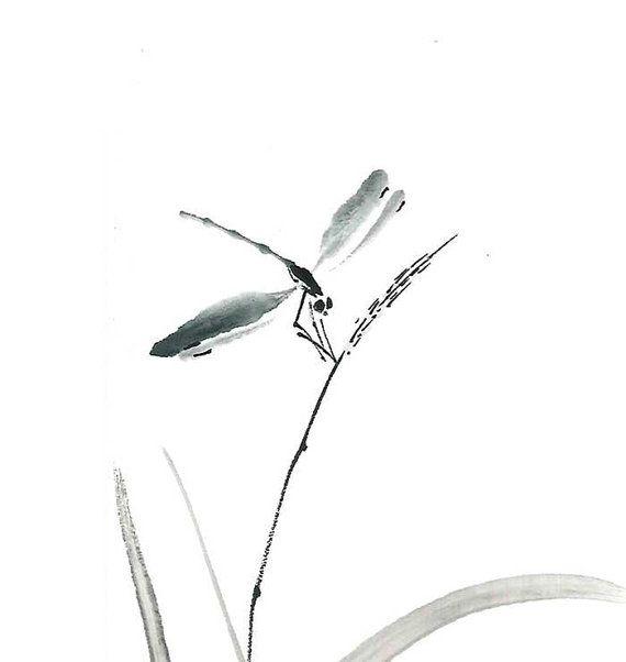 Dragonfly zen Ink Brush Botanical Print Ink Drawing by ZenPresent