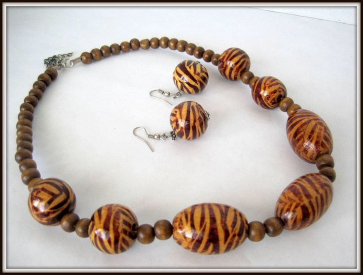 Excited to share the latest addition to my #etsy shop: Animal Print Necklace Set,  Retro Brown Beads,  70's Choker with matching Earrings