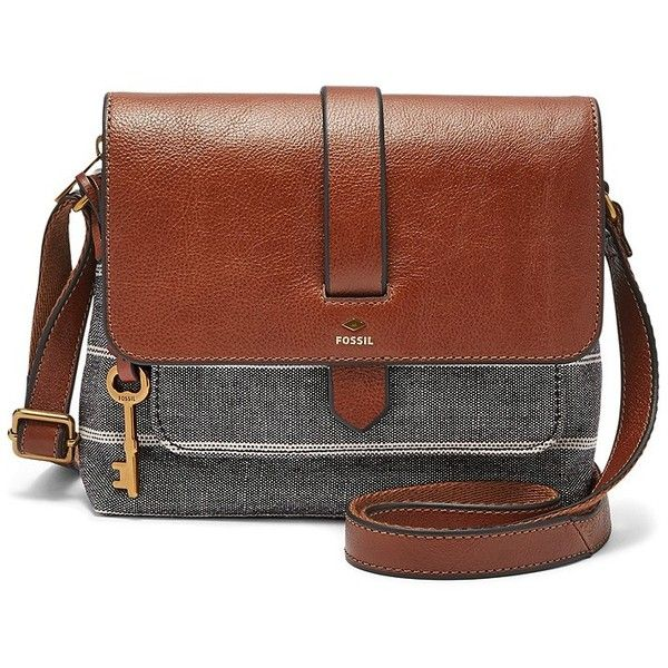 Fossil Kinley Small Crossbody ($98) ❤ liked on Polyvore featuring bags, handbags, shoulder bags, cross-body handbag, brown handbags, brown crossbody purse, mini crossbody purse and mini cross body purse