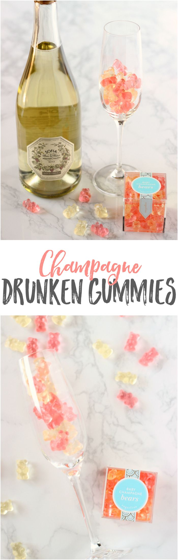 Bubbly and Gummy Bears just go together...and these Champagne Drunken Gummies are the PERFECT little treat for your New Year's Eve party!