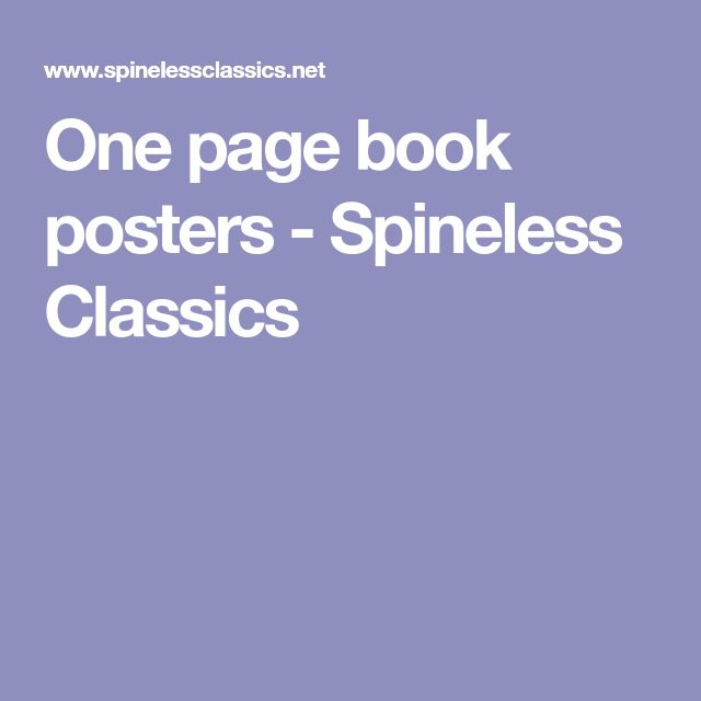One page book posters - Spineless Classics