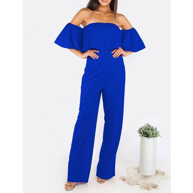 Ruffle Elegant Rompers Women Jumpsuit 2016 New Fashion Off The Shoulder Bodysuit Boot Cut Romper Playsuits Long Pants Plus Size