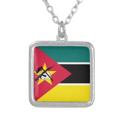 #Mozambique Flag Silver Plated Necklace - cyo customize design idea do it yourself