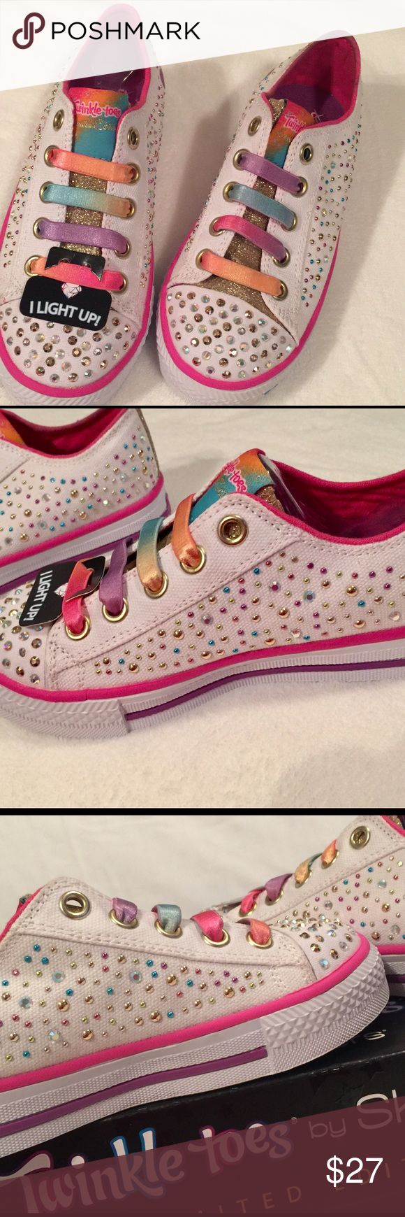 🎉HOST PICK🎉 Skechers Girls Twinkle Toes 👟NIB Brand NIB, So Adorable Girls Skechers 👟! 🌸🌸Limited Edition 🌸 White/Multi 🌸 Toe Portion Lights Up or ✨🌸 Medium Width 🌸 Stretch No-Tie Multicolored Laces 🌸 Each pair comes w/2 Sheets of Skechers Body Tattoos 🌸 Will Pair w/ALL Spring & Summer Outfits!🌸 ADORABLE 🌸 Skechers Shoes Sneakers