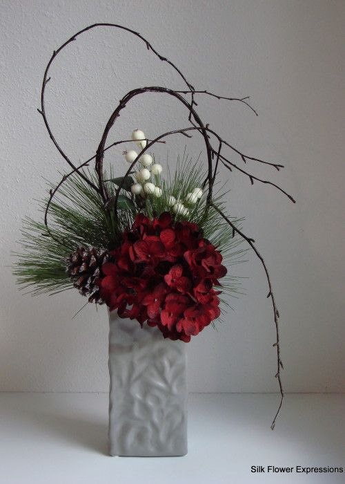 Modern Christmas Silk Flower Arrangement With Shaped Branches, Red  Hydrangea, And Iced White Berries