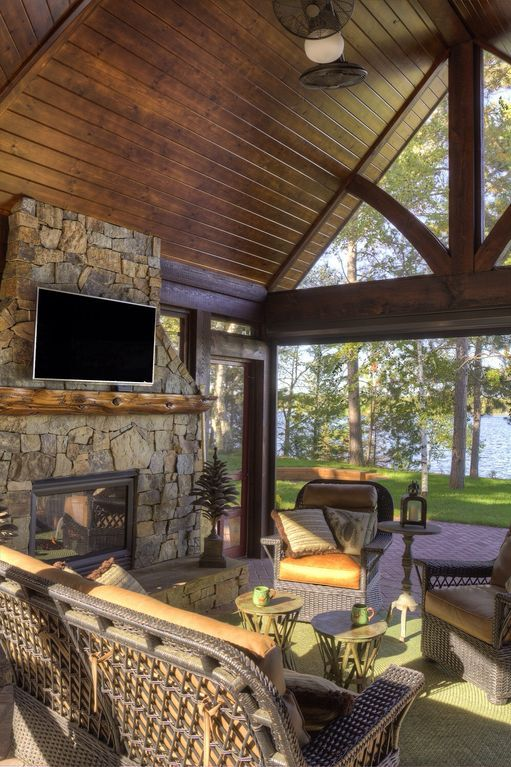 Porch has a gas fireplace, a TV to watch the baseball game and an automatic screen to keep the bugs out in the evening!!