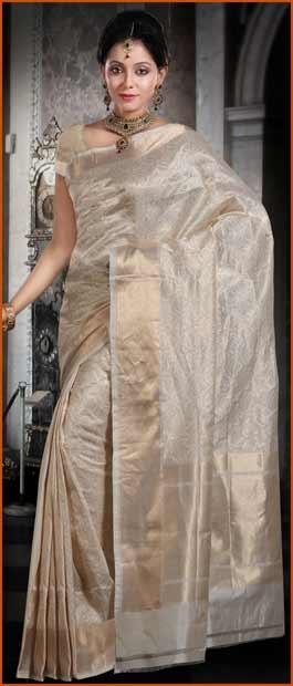 #Cream Pure #Banarasi Valkalam #Silk #Saree with #Blouse @ $183.79 | Shop Here: http://www.utsavfashion.com/store/sarees-large.aspx?icode=snn52a