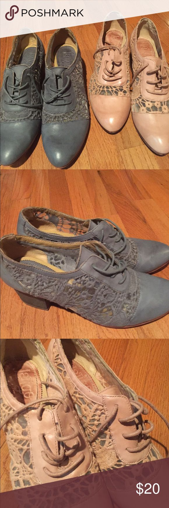 Gorgeous set of 2 lace Oxford shoes! Set of 2 Latigo lace oxfords!  Wonderful condition like brand new!  The blue pair have been worn once and the peach pair have never been worn.  Great dressed up or down! Shoes