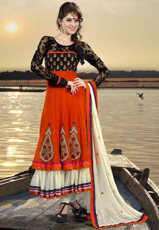 Salwar Kameez naranja con tques de encaje
