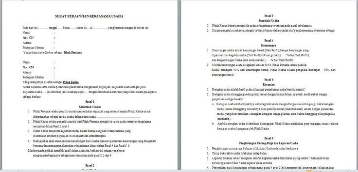 Contoh Surat Perjanjian Kerjasama Investasi Modal Usaha ...