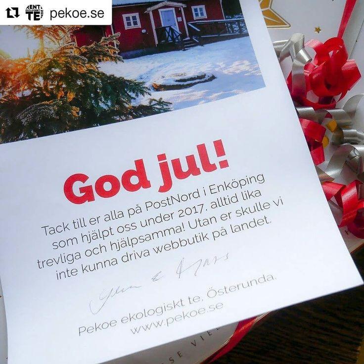 #Repost @pekoe.se (@get_repost)  GOD JUL BREVBÄRAR'N! Varje dag lämnar vi Varubrev till våra underbara lantbrevbärare. Nästan jämt är de framme hos dig dagen efter.  Därför blev det en julklapp till brevbärarna i Enköping. God jul!  #ehandel #postnord #julklapp #pekoe #ekologisktte