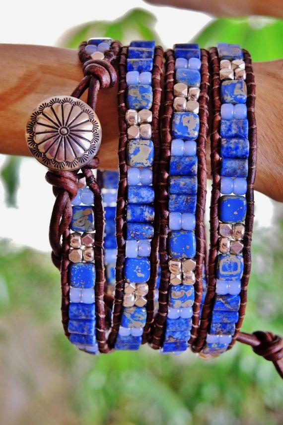 DENIM unisexe n BLUES 4 Wrap cuir Antique par BraceletsofBlueRidge