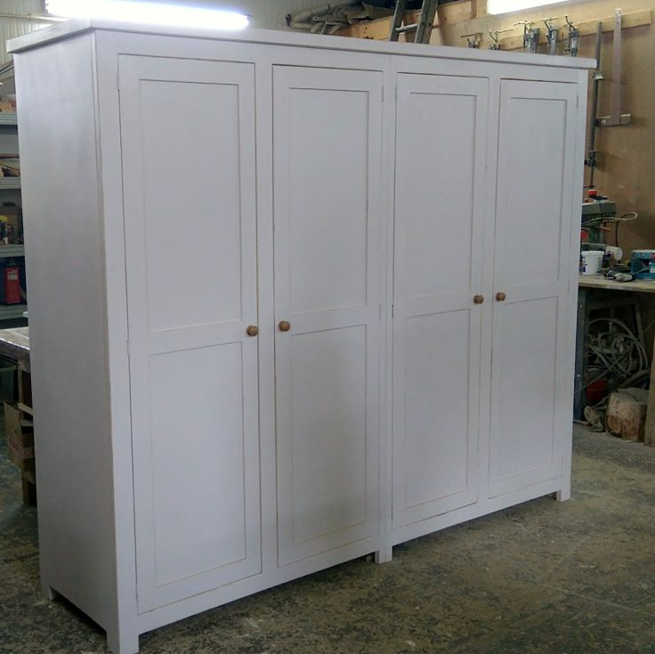 Bespoke shaker style 8FT pine wardrobe painted in Farrow & Ball 'great white' all-over.