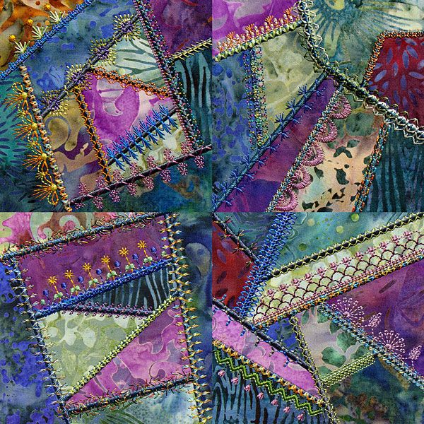Victorian ladies broke all of the rules of traditional quilting when crazy quilts started. Let's take a look at decorative embroidery, crazy quilt style: